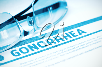 Gonorrhea - Medical Concept on Blue Background with Blurred Text and Composition of Eyeglasses. 3D Rendering.