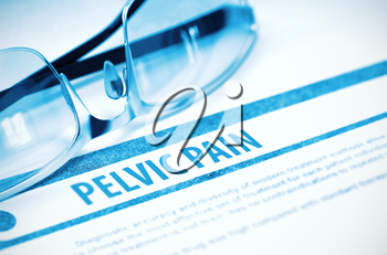 Pelvic Pain - Medical Concept with Blurred Text and Glasses on Blue Background. Selective Focus. 3D Rendering.