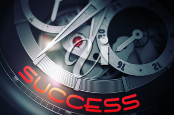 Success on Automatic Pocket Watch Detail, Chronograph Close View. Success on the Face of Fashion Wristwatch, Chronograph Closeup. Time and Business Concept with Lens Flare. 3D Rendering.