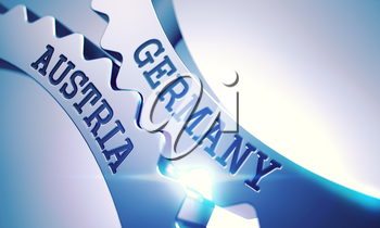 Germany Austria - Illustration with Glow Effect and Lens Flare. Germany Austria on the Mechanism of Metallic Cog Gears with Lens Flare - Business Concept. 3D.