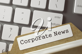 Corporate News. Index Card Overlies Modern Keyboard. Business Concept. Closeup View. Selective Focus. Toned Image. 3D Rendering.