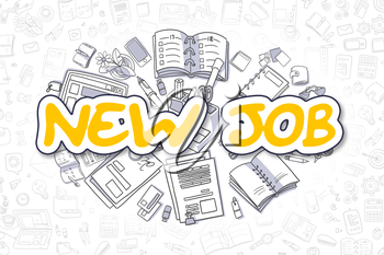 New Job - Sketch Business Illustration. Yellow Hand Drawn Text New Job Surrounded by Stationery. Doodle Design Elements.