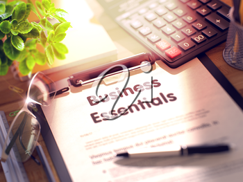 Business Essentials on Clipboard. Office Desk with a Lot of Office Supplies. 3d Rendering. Blurred Toned Illustration.