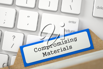 Compromising Materials written on Orange Folder Index Concept on Background of White Modern Computer Keyboard. Closeup View. Blurred Image. 3D Rendering.