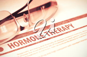 Hormone Therapy - Blurred Text on Red Background with Pair of Spectacles. Medical Concept. 3D Rendering.