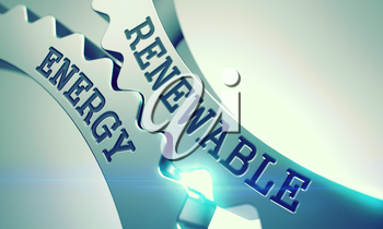 Renewable Energy on the Mechanism of Metal Gears with Lens Flare - Enterprises Concept. Renewable Energy - Illustration with Glowing Light Effect. 3D Render.