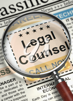 Legal Counsel. Newspaper with the Searching Job. Newspaper with Small Advertising Legal Counsel. Concept of Recruitment. Blurred Image with Selective focus. 3D.