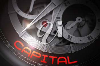 Capital on Face of Elegant Watch Machinery Macro Detail Monochrome. Fashion Wristwatch with Capital Inscription on Face. Time and Business Concept with Glowing Light Effect. 3D Rendering.