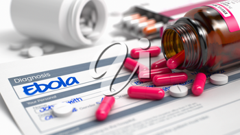 Ebola Phrase in Medical History. Close View of Medicine Concept. Ebola - Handwritten Diagnosis in the Disease Extract. Medicine Concept with Red Pills, Close Up View, Selective Focus. 3D Illustration.