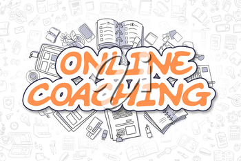 Doodle Illustration of Online Coaching, Surrounded by Stationery. Business Concept for Web Banners, Printed Materials.