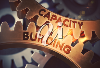 Capacity Building - Industrial Illustration with Glow Effect and Lens Flare. Capacity Buildingon the Golden Metallic Cog Gears. 3D Rendering.