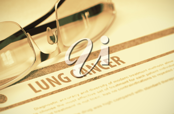 Lung Cancer - Medicine Concept on Red Background with Blurred Text and Composition of Eyeglasses. 3D Rendering.