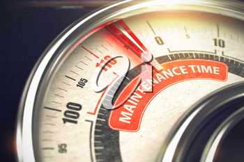3D Illustration of a Compass with Red Needle Pointing the Inscription Maintenance Time. Business Concept. 3D.