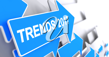 Trends 2017, Text on Blue Cursor. Trends 2017 - Blue Pointer with a Message Indicates the Direction of Movement. 3D.