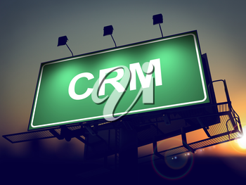 CRM - Green Billboard on the Rising Sun Background.