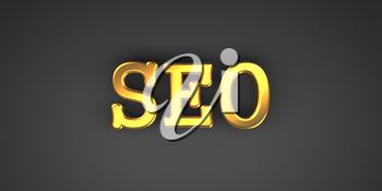 SEO - Internet Concept. Golden Text on a Black Background.