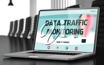 Mobile Computer Display with Data Traffic Monitoring Concept on Landing Page. Closeup View. Modern Conference Room Background. Toned. Blurred Image. 3D Render.