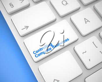 Service Concept: Controlling Company Resources on Metallic Keyboard Background. Closeup White Keyboard Keypad - Controlling Company Resources. 3D Render.