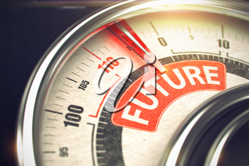 Balance with Red Needle Pointing the Text Future on the Red Label. Future - Red Label on the Conceptual Gauge with Needle. Business or Marketing Mode Concept. 3D Render.