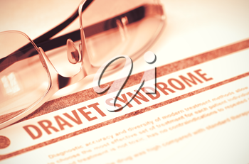 Diagnosis - Dravet Syndrome. Medical Concept on Red Background with Blurred Text and Eyeglasses. Selective Focus. 3D Rendering.