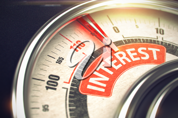 Compass with Red Needle Pointing the Text Interest on Red Label. Metal Conceptual Meter with Red Punchline Reach the Interest. Illustration with Depth of Field Effect. 3D Render.