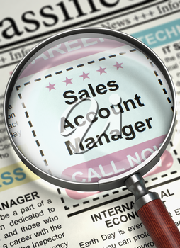 Sales Account Manager - CloseUp View Of A Classifieds Through Magnifying Glass. Sales Account Manager. Newspaper with the Small Advertising. Job Seeking Concept. Blurred Image. 3D.