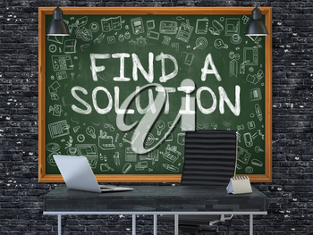 Find a Solution - Hand Drawn on Green Chalkboard in Modern Office Workplace. Illustration with Doodle Design Elements. 3D.