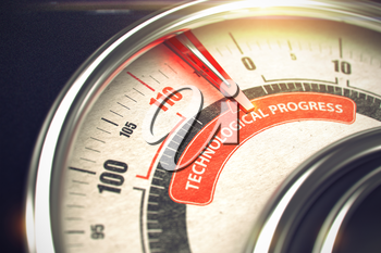 Technological Progress Rate Conceptual Rev Counter with Text on Red Label. Business or Marketing Concept. 3D.
