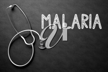 Medical Concept: Malaria Handwritten on Black Chalkboard. Medical Concept: Malaria - Text on Black Chalkboard with White Stethoscope. 3D Rendering.
