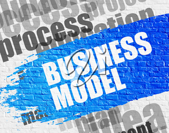 Education Concept: Business Model - on the White Brick Wall with Word Cloud Around. Modern Illustration. Business Model Modern Style Illustration on the Blue Distressed Brush Stroke.