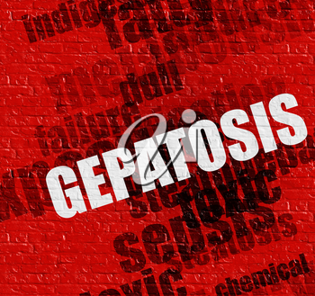 Healthcare concept: Red Wall with Gepatosis on it . Gepatosis - on the Brick Wall with Word Cloud Around .