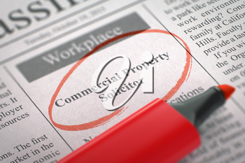 Commercial Property Solicitor. Newspaper with the Job Vacancy, Circled with a Red Marker. Blurred Image with Selective focus. Hiring Concept. 3D Render.