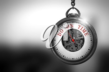 Business Concept: Do On Time on Pocket Watch Face with Close View of Watch Mechanism. Vintage Effect. Do On Time Close Up of Red Text on the Pocket Watch Face. 3D Rendering.
