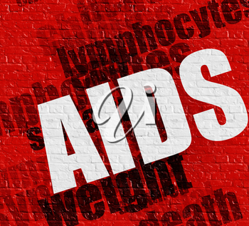 Medicine concept: AIDS - Acquired Immune Deficiency Syndrome - on the Brick Wall with Wordcloud Around . AIDS - Acquired Immune Deficiency Syndrome on Red Brick Wall .