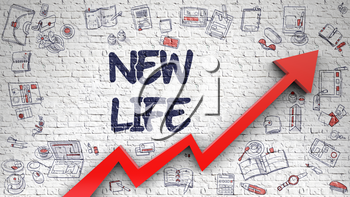 New Life Inscription on the Modern Line Style Illustation. with Red Arrow and Doodle Design Icons Around. New Life Drawn on White Wall. Illustration with Doodle Design Icons. 3d.