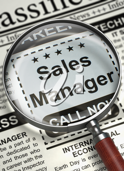 Sales Manager - Classified Ad in Newspaper. Sales Manager - Close Up View Of A Classifieds Through Magnifying Glass. Hiring Concept. Selective focus. 3D.