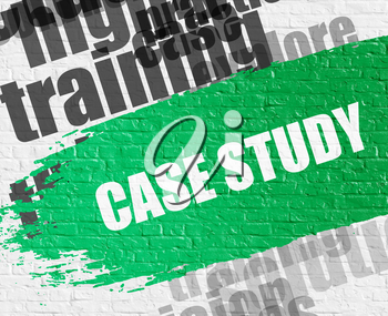 Education Concept: Case Study Modern Style Illustration on the Green Distressed Brush Stroke. Case Study - on White Brickwall with Wordcloud Around. Modern Illustration.