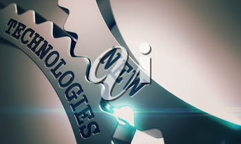Text New Technologies on Shiny Metal Cog Gears - Interaction Concept . New Technologies on the Metal Cogwheels, Business Illustration with Lens Flare . 3D Illustration .