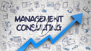 Management Consulting Drawn on Brick Wall. Illustration with Doodle Design Icons. Management Consulting - Increase Concept with Doodle Icons Around on the White Wall Background. 3d.