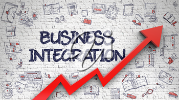 Business Integration Drawn on White Brick Wall. Illustration with Doodle Design Icons. Business Integration - Success Concept with Hand Drawn Icons Around on the White Brickwall Background. 3d.