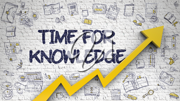 Time For Knowledge Inscription on Modern Line Style Illustation. with Orange Arrow and Doodle Icons Around. Time For Knowledge Drawn on Brick Wall. Illustration with Hand Drawn Icons.