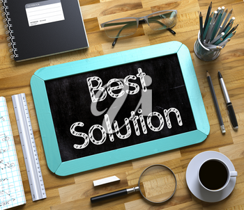 Small Chalkboard with Best Solution. Mint Small Chalkboard with Handwritten Business Concept - Best Solution - on Office Desk and Other Office Supplies Around. Top View. 3d Rendering.