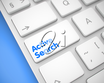 Up Close View on Modern Computer Keyboard - Active Search White Button. Online Service Concept: Active Search on the Modern Computer Keyboard lying on the Blue Background. 3D Render.