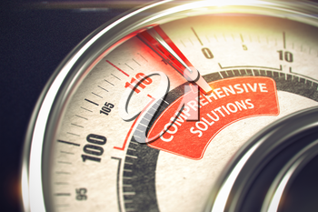 Comprehensive Solutions - Red Label on the Conceptual Dial with Needle. Business Mode Concept. 3D Render.