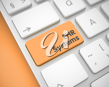 Business Concept: EHR Systems - Electronic Health Record on the Conceptual Keyboard lying on the Orange Background. EHR Systems - Electronic Health Record - Orange Key on the Keyboard. 3D Render.