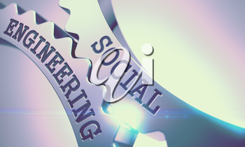 Metallic Cog Gears with Social Engineering Inscription . Social Engineering on the Mechanism of Metal Cog Gears with Lens Flare - Communication Concept . 3D .