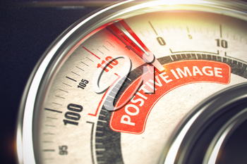 3D Render of a Speed Meter with Red Needle Pointing the Message Positive Image. Business or Marketing Concept. 3D Illustration.