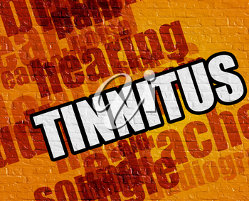 Healthcare concept: Yellow Wall with Tinnitus on it . Tinnitus - on the Brickwall with Wordcloud Around .