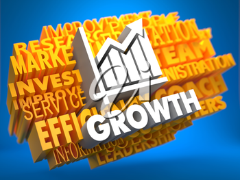 Growth with Growth Chart Icon on Yellow WordCloud on Blue Background.