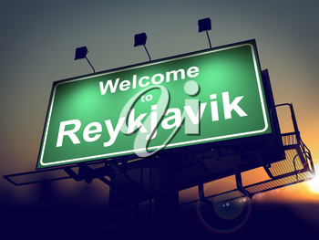 Welcome to Reykjavik - Green Billboard on the Rising Sun Background.